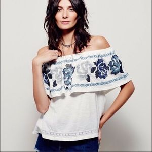 Free People To The Left Off Shoulder Embroidered